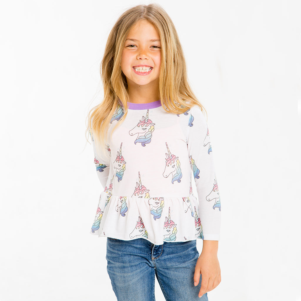 "CHASER KIDS - ""Unicorns"" Vintage Jersey Long Sleeve Peplum"
