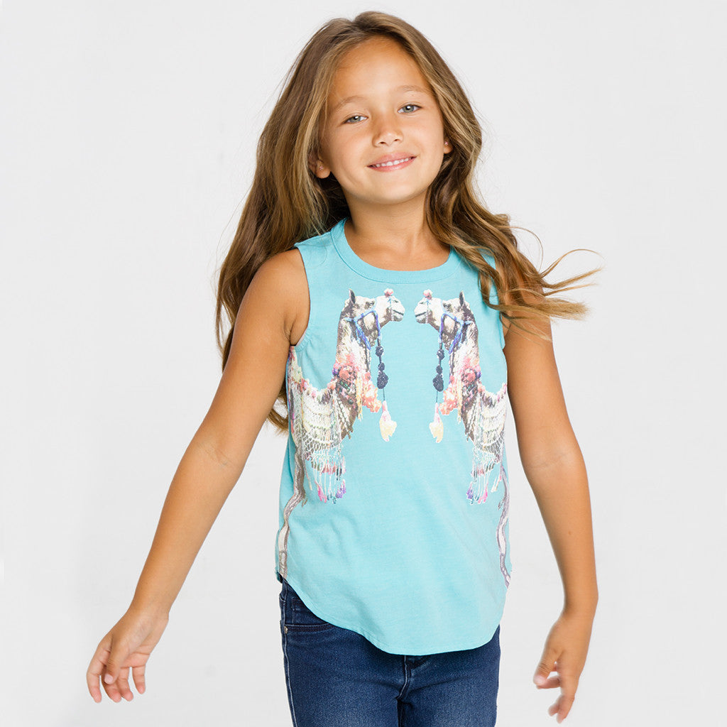 "CHASER KIDS - ""Decorated Camels"" Vintage Jersey Shirttail Muscle Tank"
