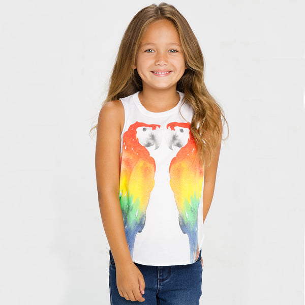 "ALL NEW! - CHASER KIDS - ""Mirror Parrots"" Vintage Jersey Shirttail Muscle Tank"