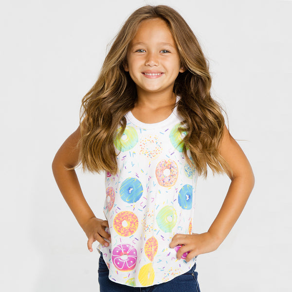 "ALL NEW! - CHASER KIDS - ""Donuts"" Vintage Jersey Shirttail Racer Tank"