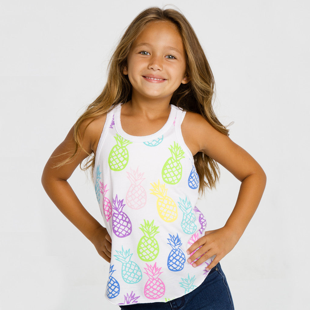"CHASER KIDS - ""Pineapple Pop"" Vintage Jersey Shirttail Racer Tank"