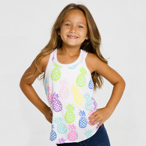 "ALL NEW! - CHASER KIDS - ""Pineapple Pop"" Vintage Jersey Shirttail Racer Tank"