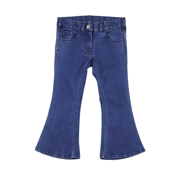 FEATHER DRUM - Poppy Denim Cropped Flares