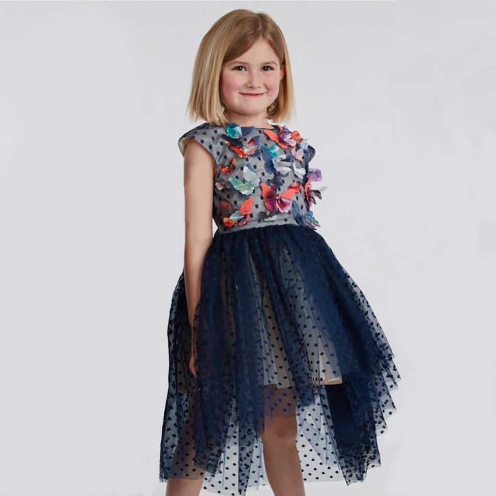 HALABALOO - Navy Dot Butterfly Hi-Lo Dress