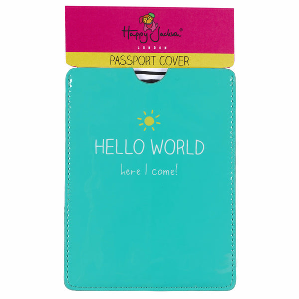 "HAPPY JACKSON LONDON - ""Hello World"" Passport Cover"