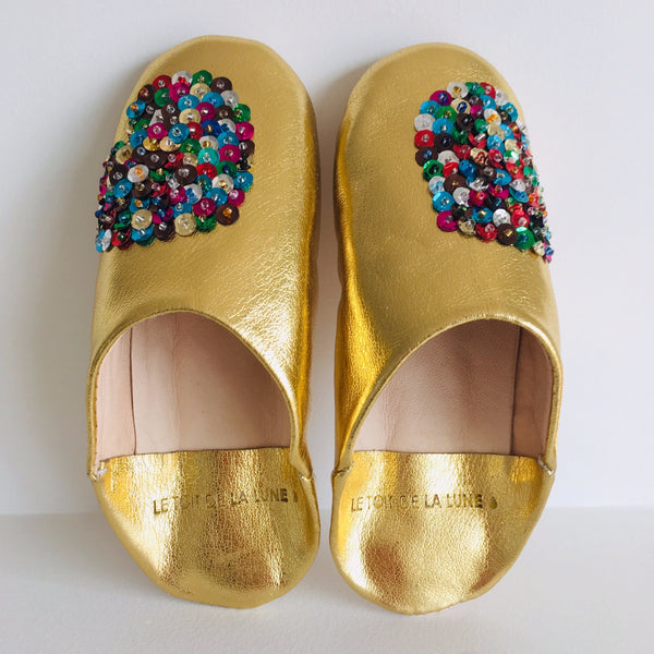 "LE TOIT DE LA LUNE - ""Gold"" Leather Slippers"