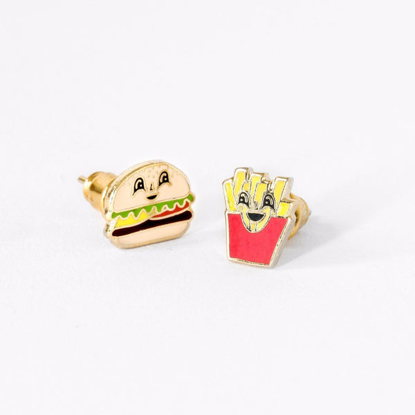 "YELLOW OWL WORKSHOP - ""Burger & Fries"" Mismatched Earrings"