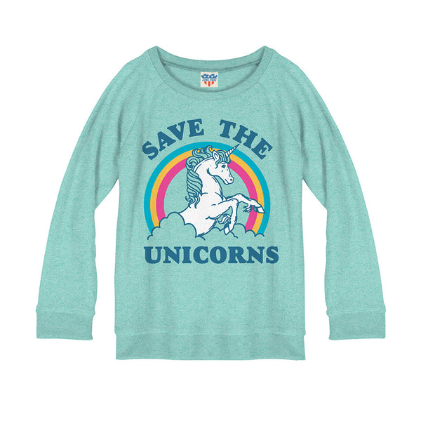 "JUNK FOOD - ""Save the Unicorns"" Fleece Sweatshirt"