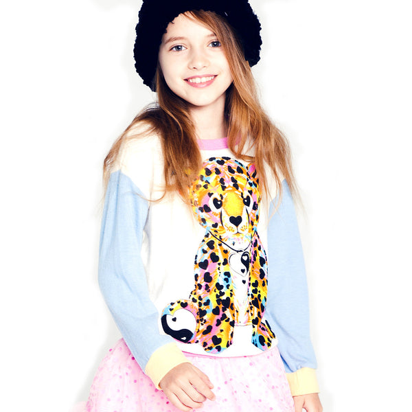 "Peppa ""Color Heart Leopard"" Color Block Pullover"