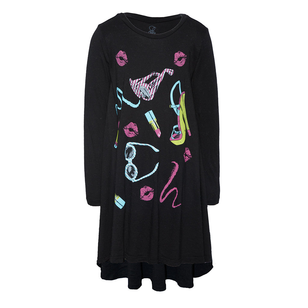 "LAUREN MOSHI KIDS - Betty ""80's Fashion"" Long Sleeved Swing Dress"
