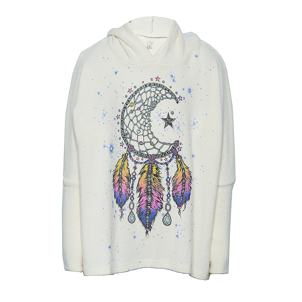 "LAUREN MOSHI KIDS - Cookie ""Moon Dreamcatcher"" Oversized Pullover with Hood"