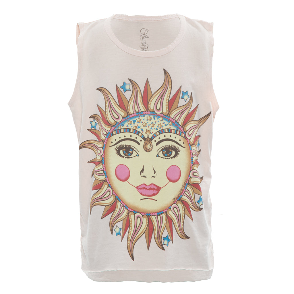 "LAUREN MOSHI KIDS - Velma ""Moon Sun"" Tank w/ Raw Edge"
