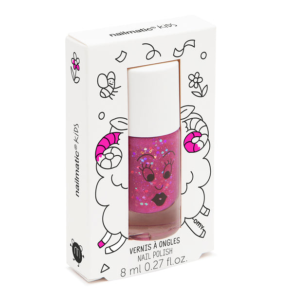 "NAILMATIC - ""Sheepy"" Clear Raspberry Glitter Nail Polish"