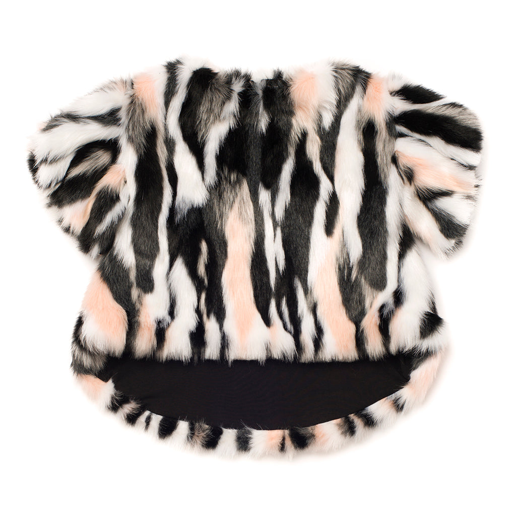 OMAMImini - Ruffle Sleeve High-Low Faux Fur Top