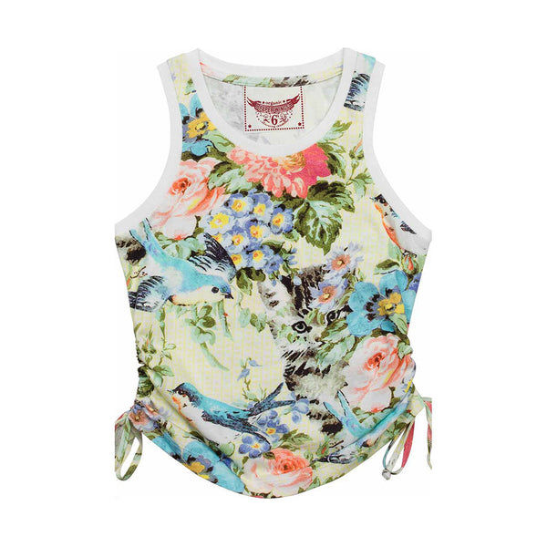 PAPER WINGS - Summer Floral Singlet with Drawstrings