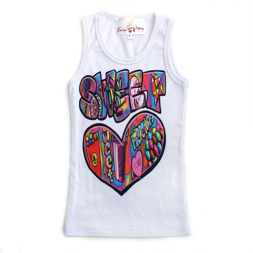 "PENELOPE WILDBERRY - ""Candy Friends"" Poly Rib Tank"