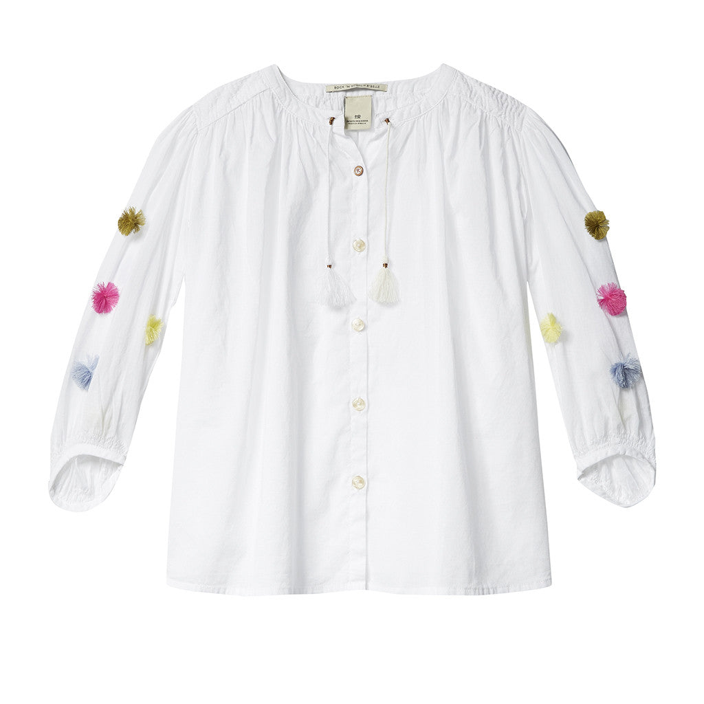 SCOTCH R'BELLE - Lightweight Blouse with Pom Poms