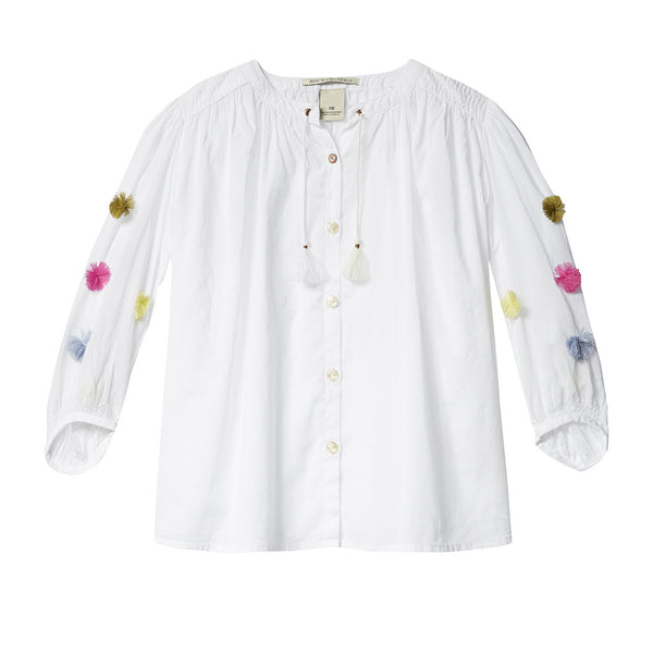 SCOTCH & SODA- Lightweight Blouse with Pom Poms