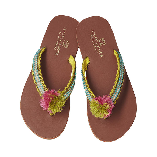 SCOTCH & SODA- Pom Pom Flip Flops