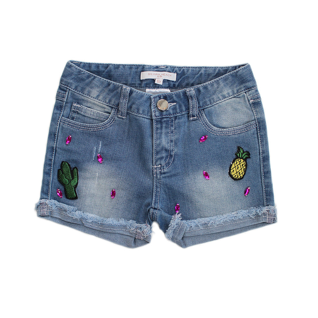 HEACH DOLLS By SILVIAN HEACH - Denim Bermuda Shorts with Cactus Patch