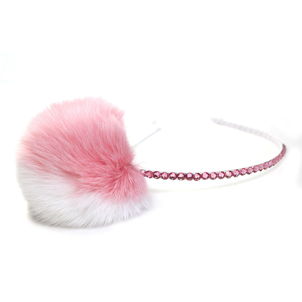 Bari Lynn Girls Headband with Fur Pompom WygeYneR6