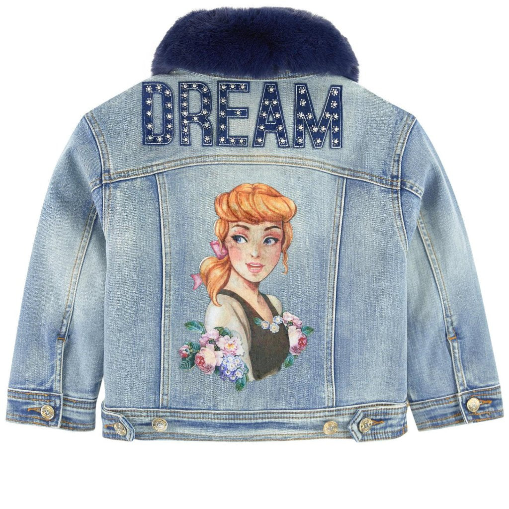 MONNALISA - Cinderella Denim Jacket w/ Removable Fur Collar