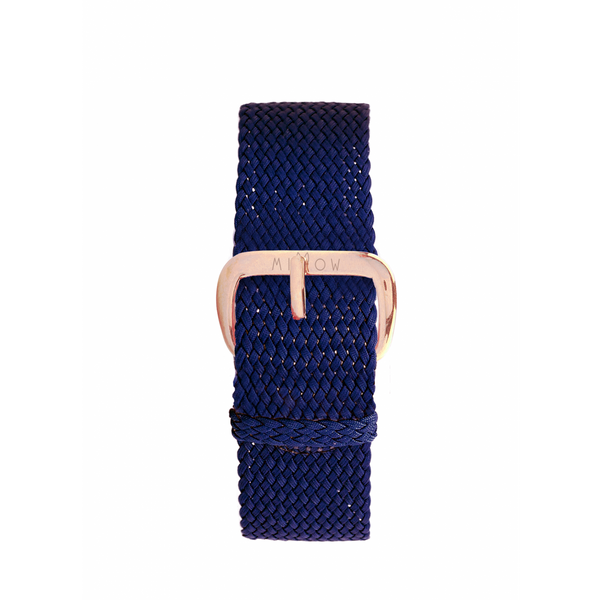 MILLOW PARIS - Braided Navy Blue Strap - Rose Gold Buckle