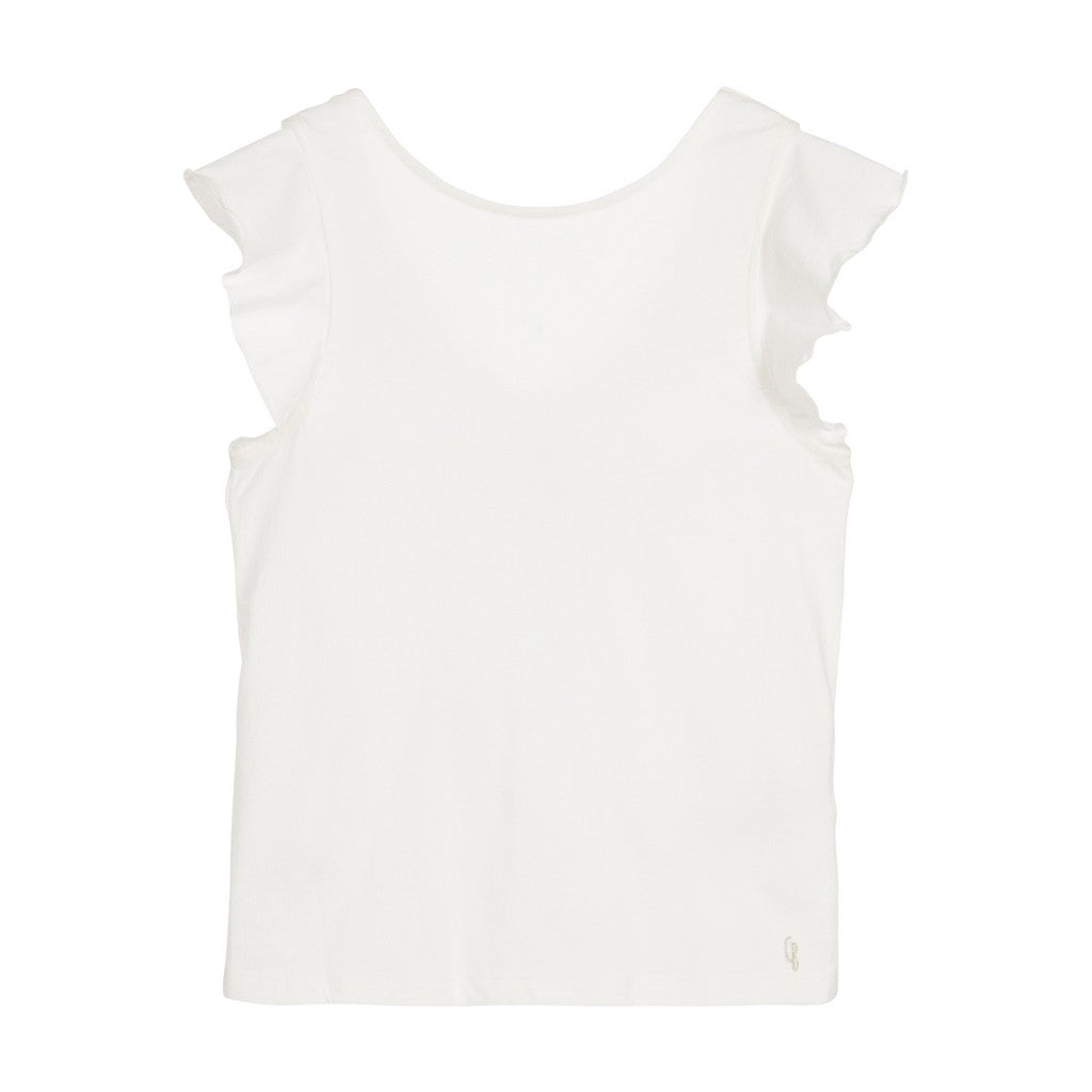 CARREMENT BEAU - Ruffle-Sleeved T-Shirt with V-Back
