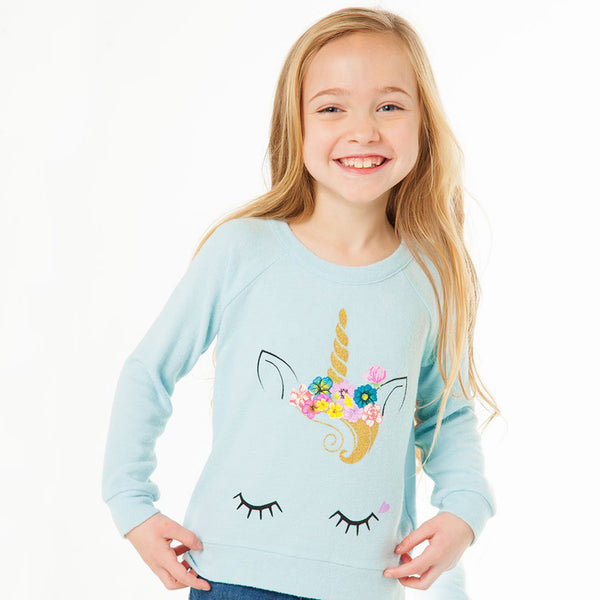 "CHASER KIDS - ""Unicorn Face"" Love Knit Raglan Pullover"