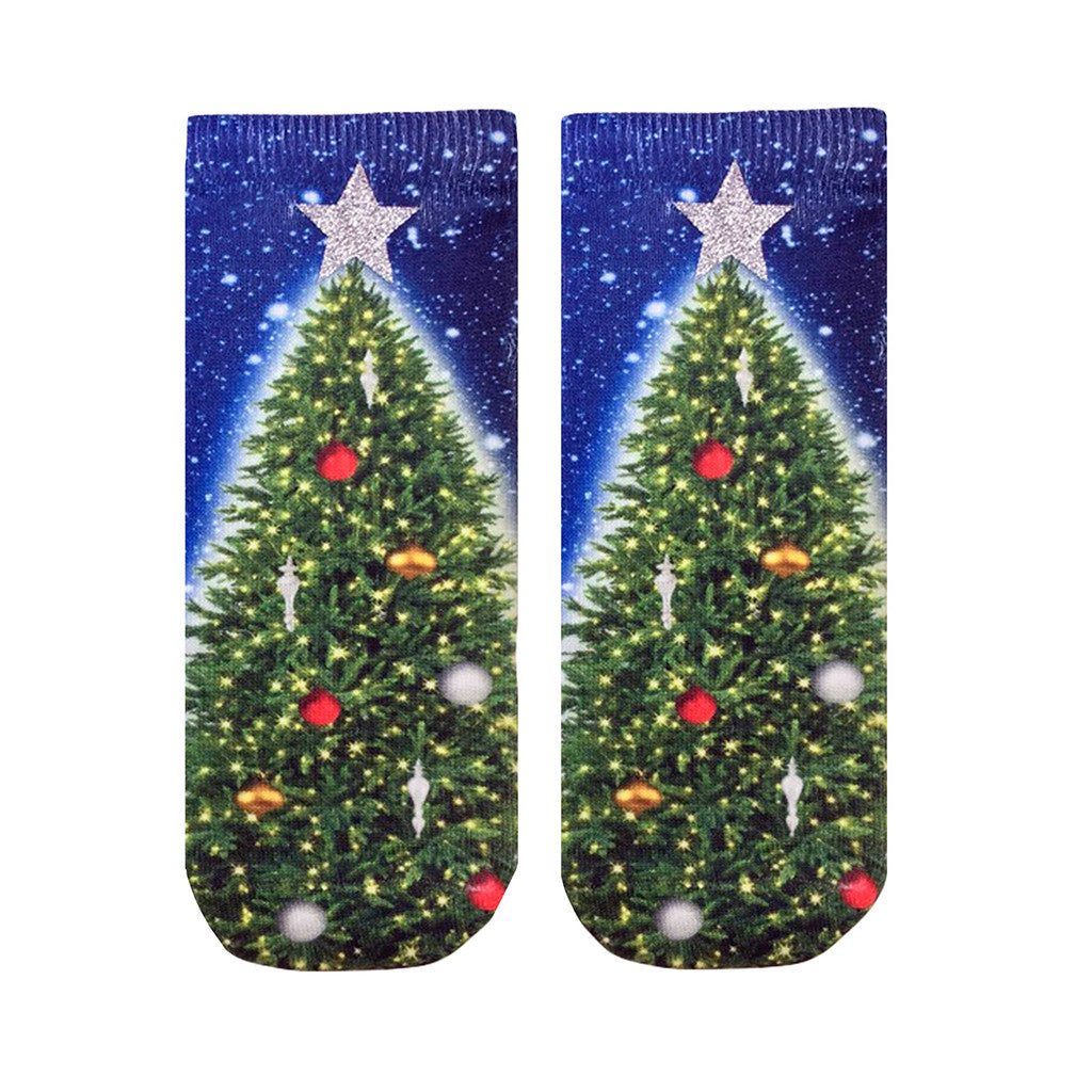 "LIVING ROYAL - ""Glitter Christmas Tree"" Ankle Socks"