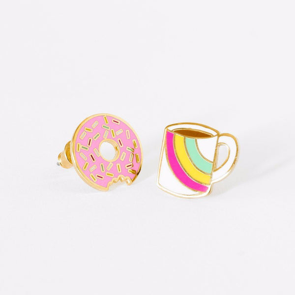 "YELLOW OWL WORKSHOP - ""Coffee & Donut"" Mismatched Earrings"