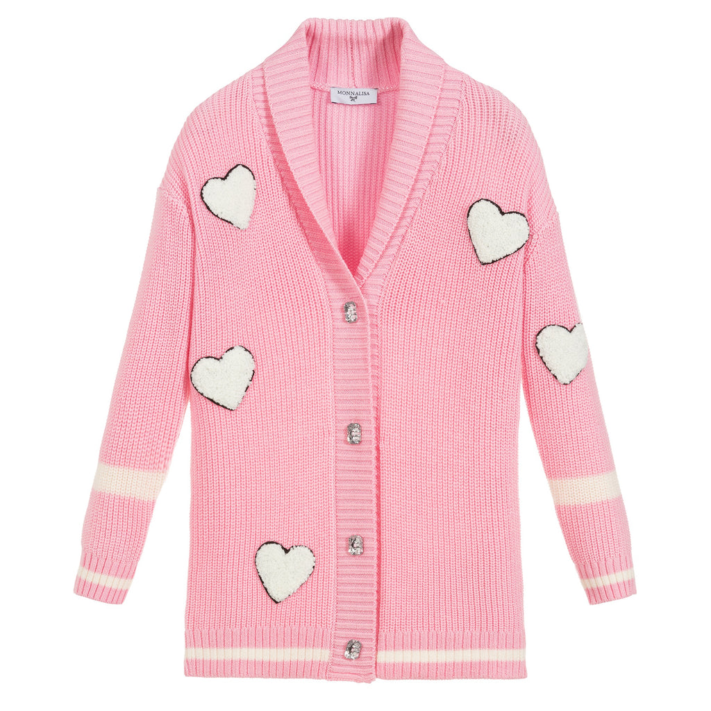 MONNALISA - Cardigan with Heart Patches