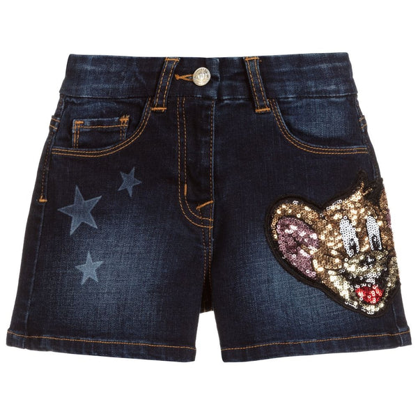 MONNALISA - Tom & Jerry Sequined Denim Shorts