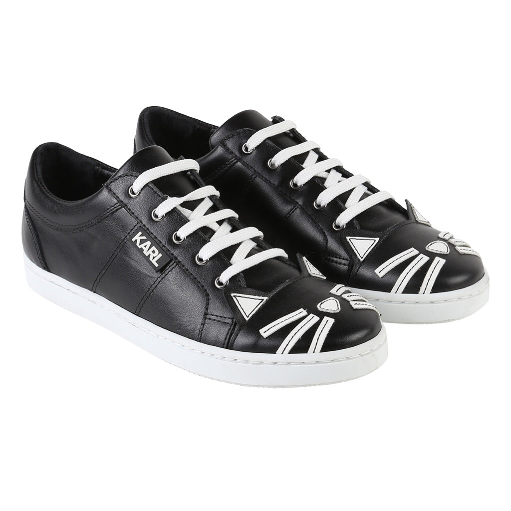 KARL LAGERFELD KIDS - Choupette Leather Sneakers w/ Silver Laces