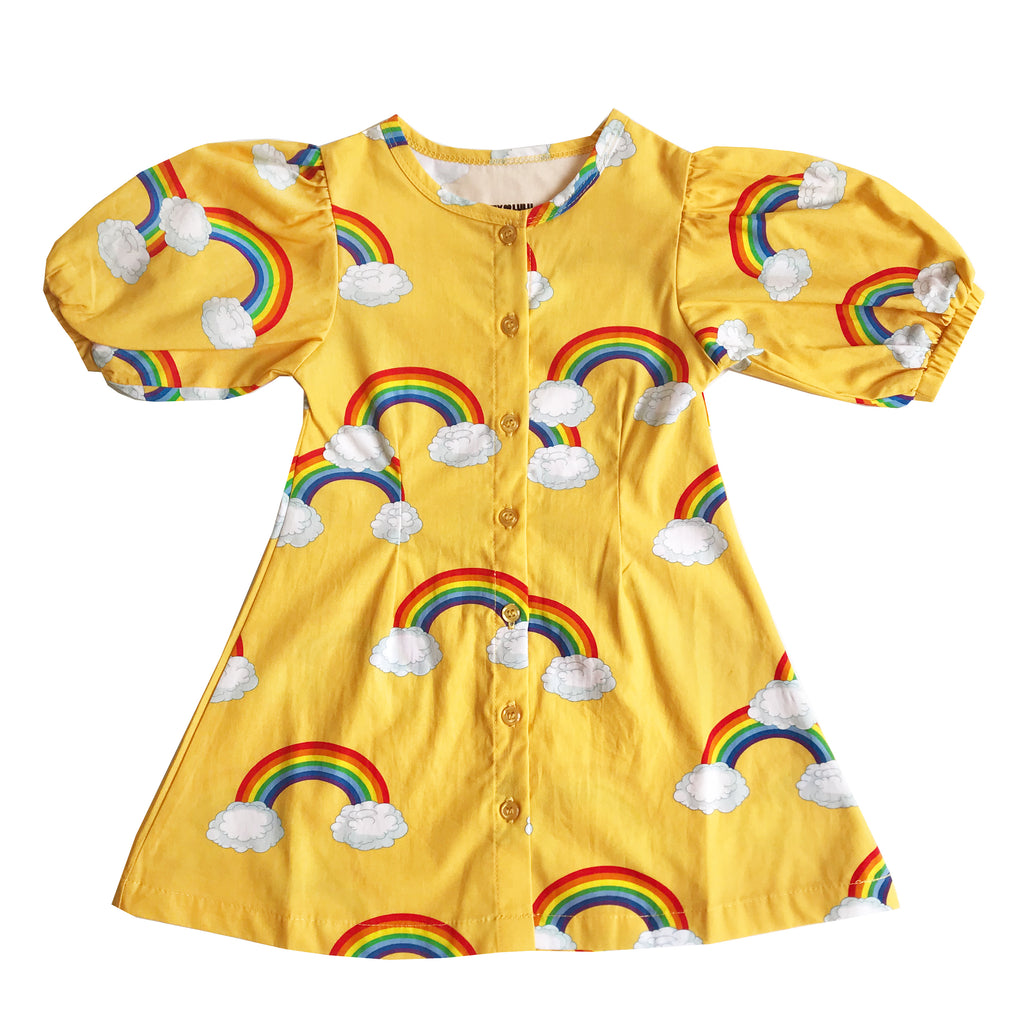 "ROMEY LOVES LULU - ""Yellow Rainbows"" Puff Sleeve Dress"