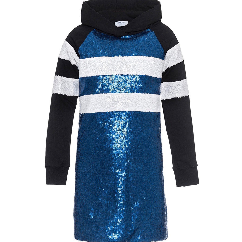 MONNALISA - Sequined Hooded Sweat Dress