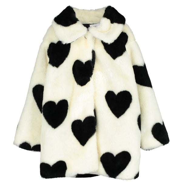 BEAU LOVES - Hearts Jacquard Faux Fur Jacket