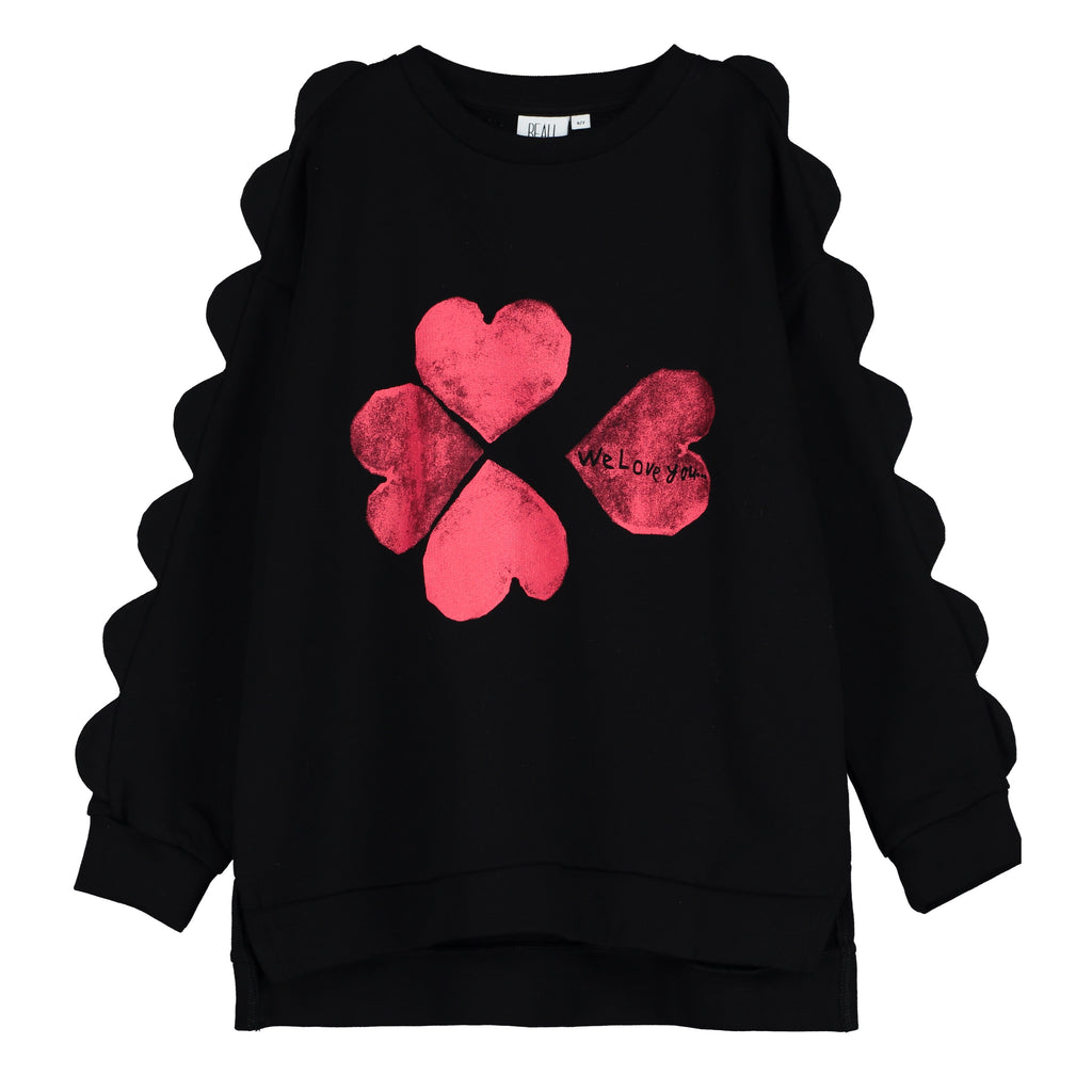 "BEAU LOVES - ""Hearts We Love You"" Scalloped Sweatshirt"
