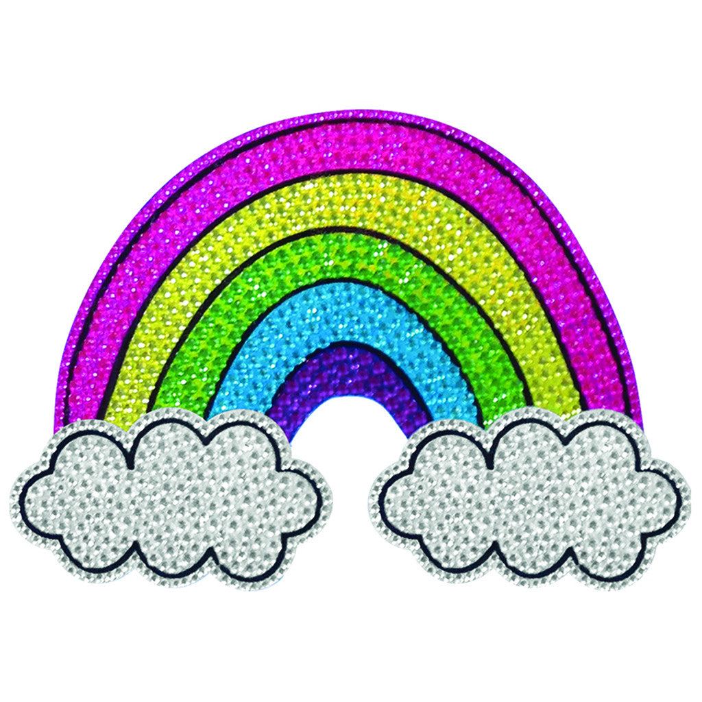 "iSCREAM - ""Rainbow and Clouds"" Brightly Colored Decal with Rhinestones"