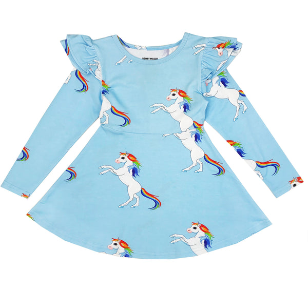 "ROMEY LOVES LULU - ""Rainbow Horses"" Ruffle Dress"