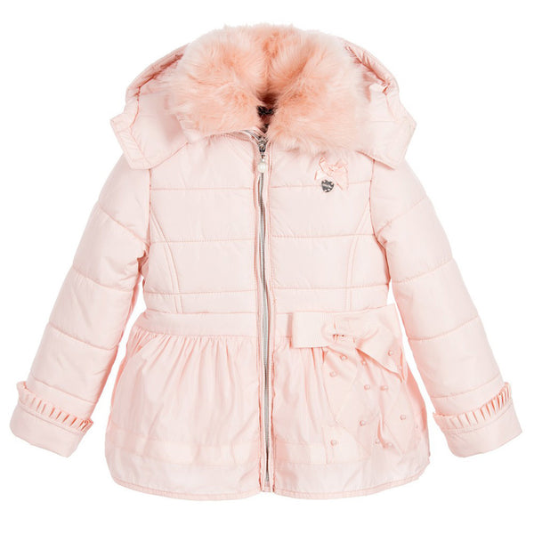 bac296296ba6 LE CHIC PUFFER COAT WITH FUR COLLAR AND BOW