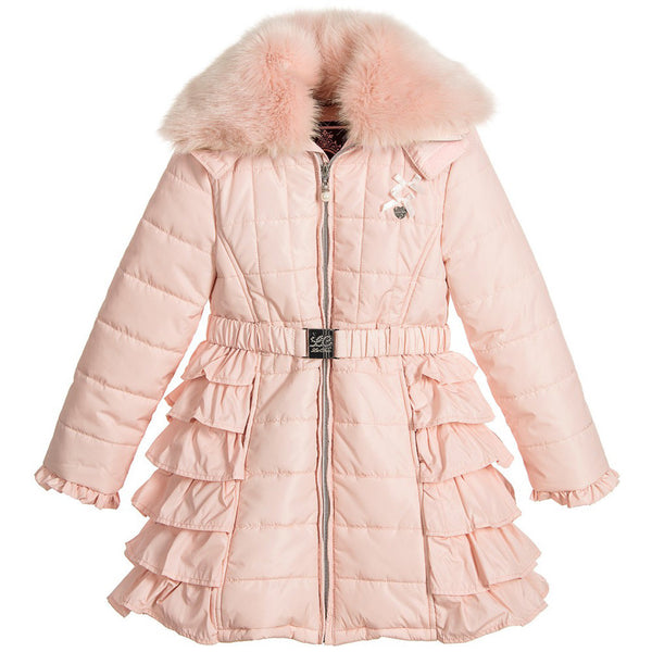 LE CHIC - Belted Puffer Coat with Fur Collar
