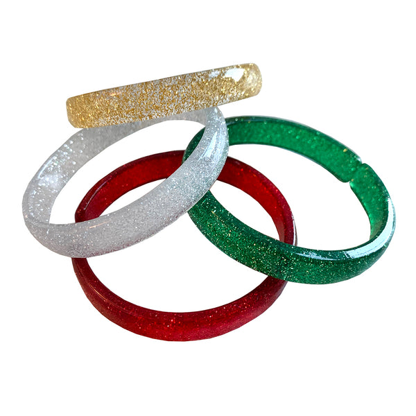 LILIES & ROSES NY - Holiday Color Assortment Acrylic Bangles - Set of 4