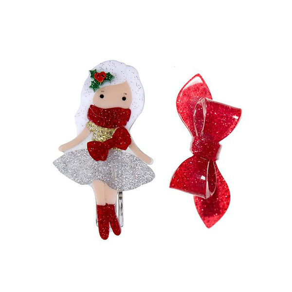 "LILIES & ROSES NY - ""Santa's Helper"" Silver with Red Glitter Bow Alligator Clips"