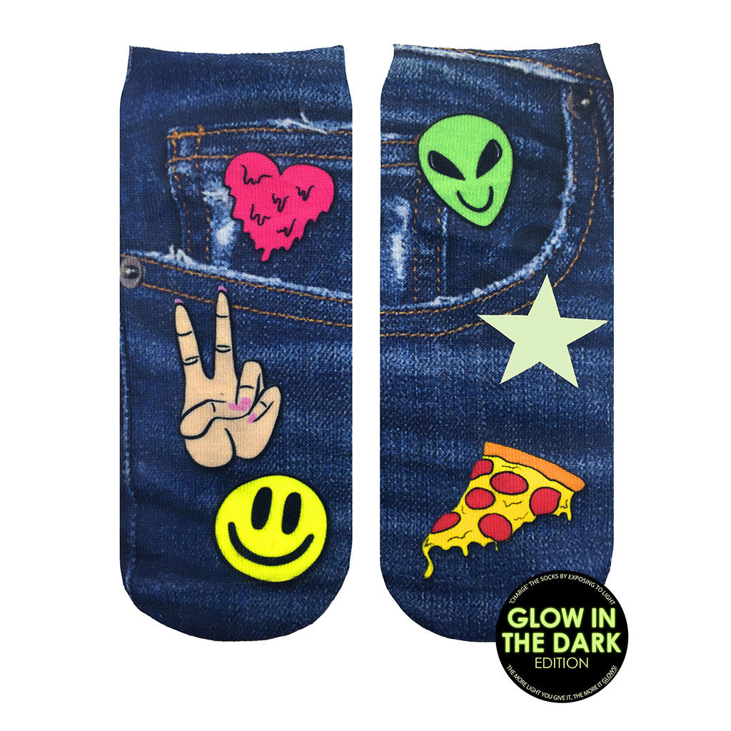 "LIVING ROYAL - Glow in the Dark ""Patch"" Ankle Socks"