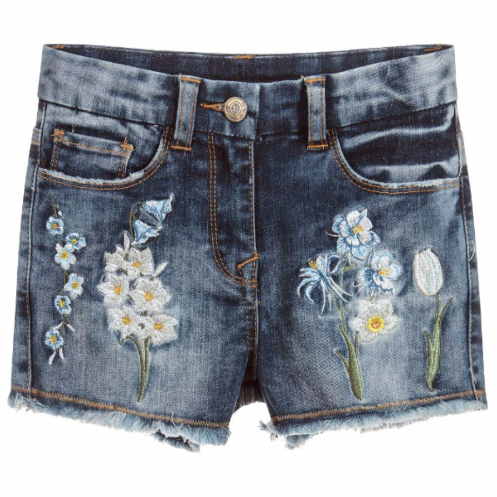 MONNALISA - Embroidered Floral Denim Shorts