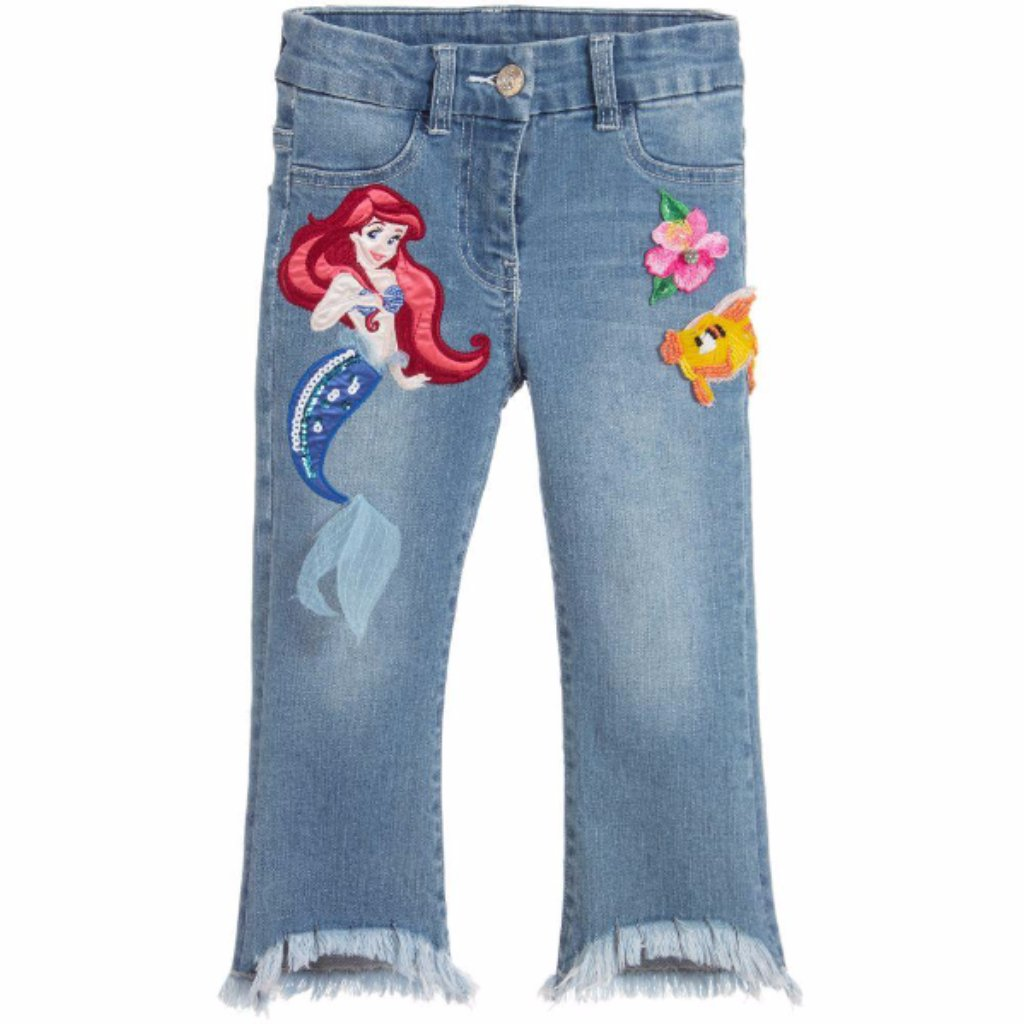 "MONNALISA - ""Little Mermaid"" Embroidered Jeans"