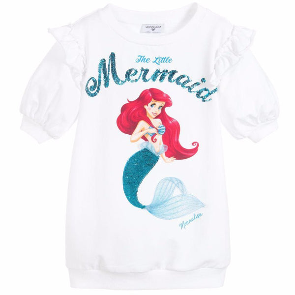 "MONNALISA - ""Little Mermaid"" Sequin Sweatshirt Dress"