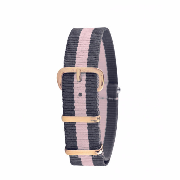 MILLOW PARIS - Stripe Pink Strap - Rose Gold Buckle