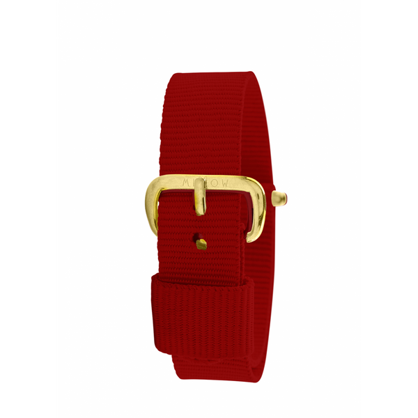 MILLOW PARIS - Red Paris Strap - Yellow Gold Buckle